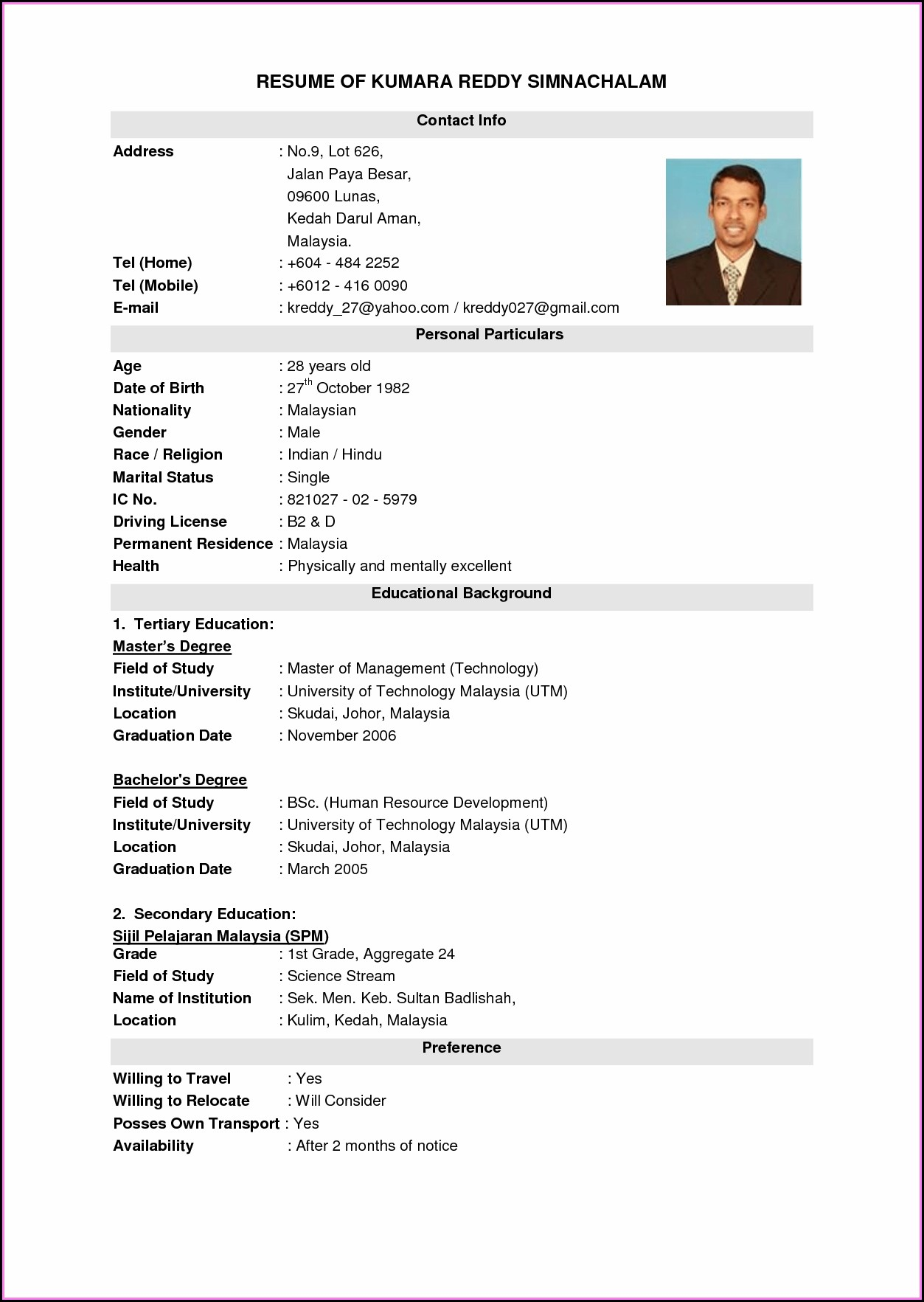 Best Resume Format Free Download