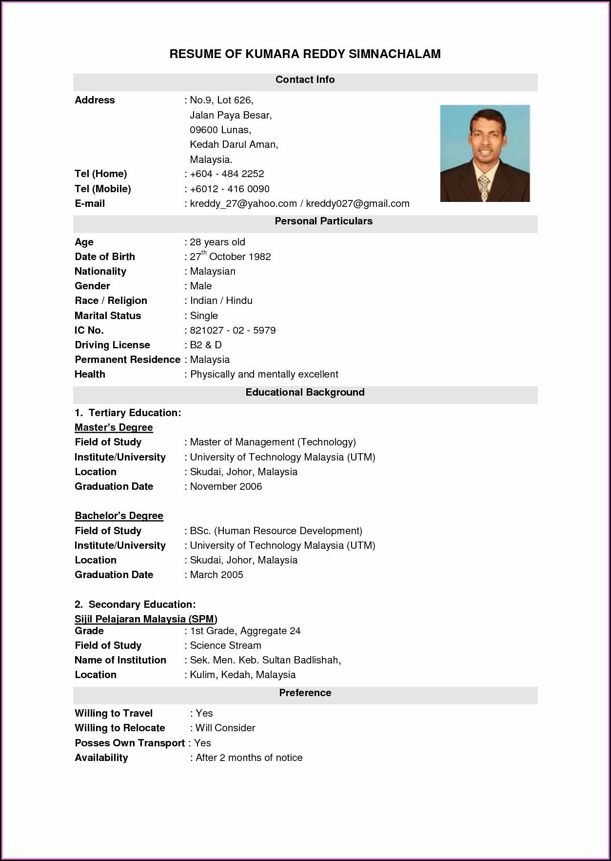 Best Resume Format Free Download