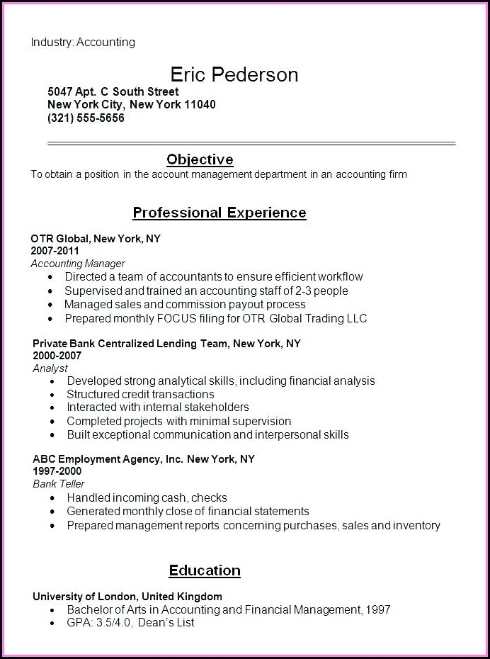 Best Resumes For Accountants