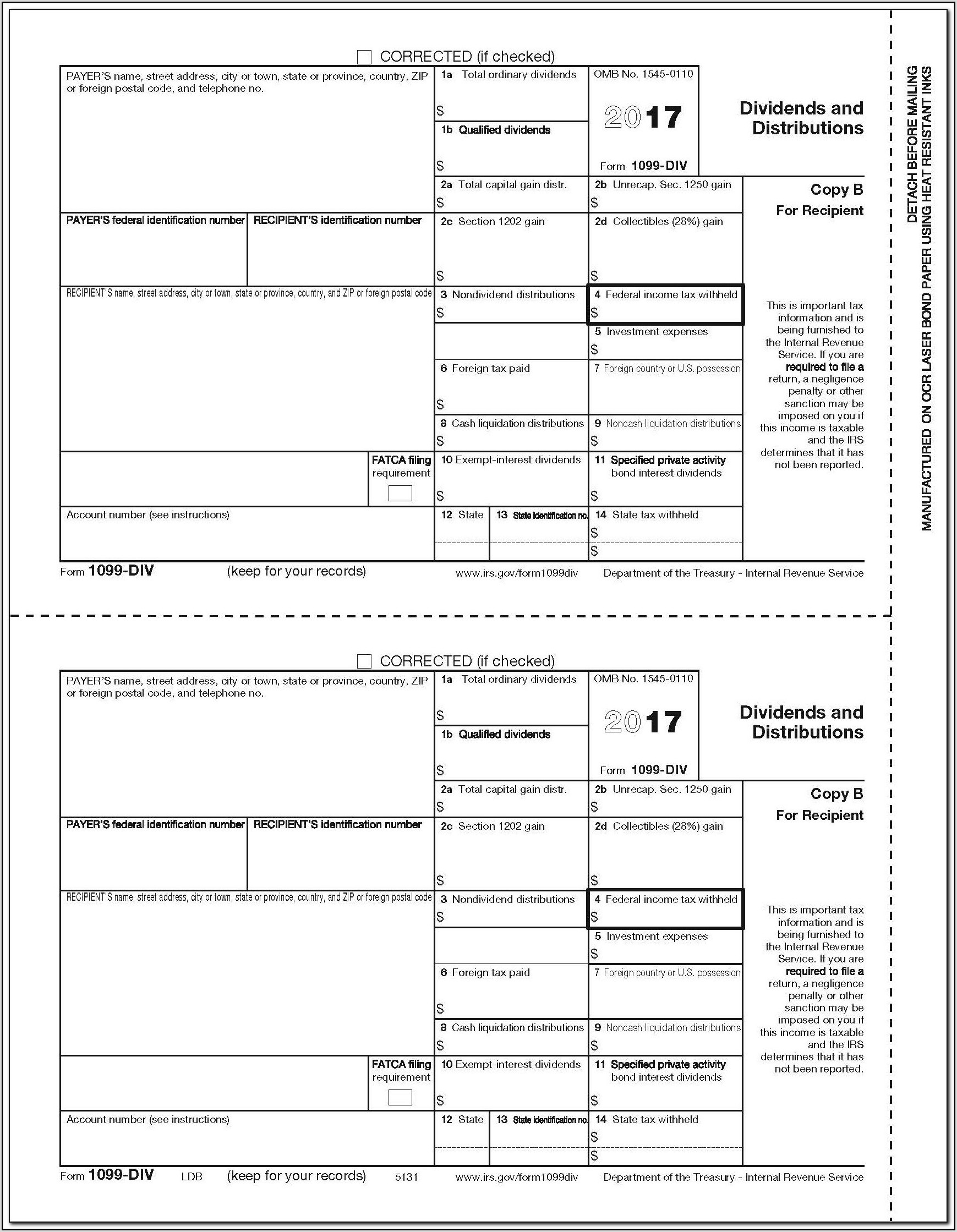 Blank 1099 Forms 2017