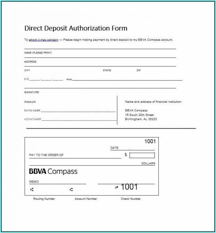 Blank Ach Direct Deposit Form