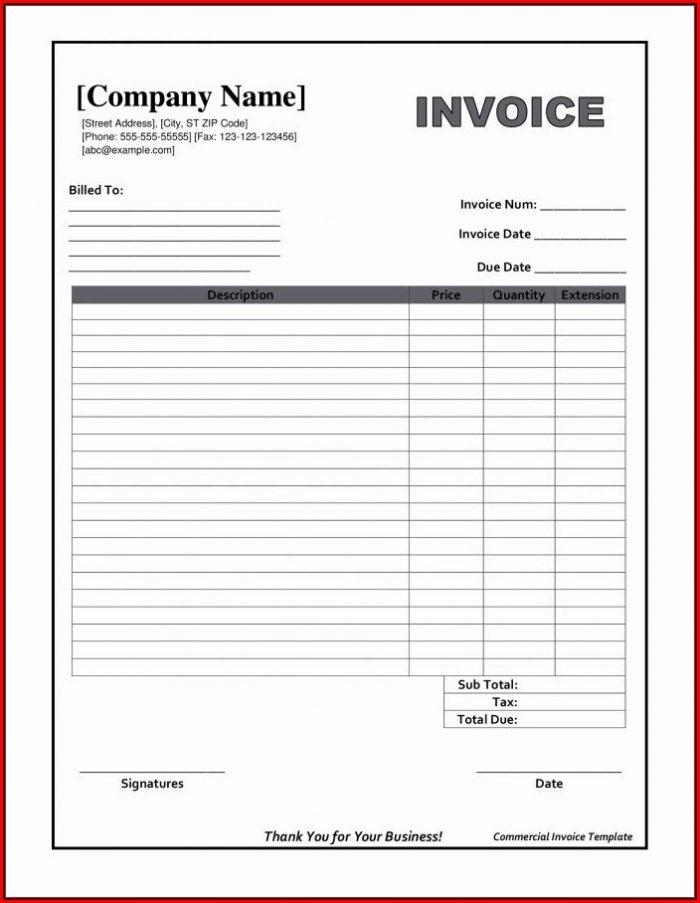 Blank Invoice Templates Microsoft Word