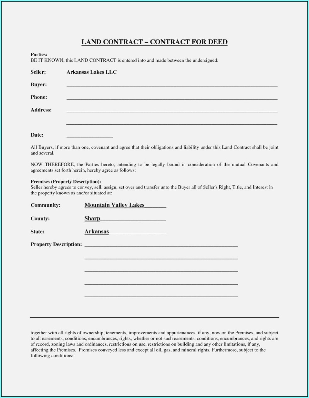 Blank Land Contract Form Michigan
