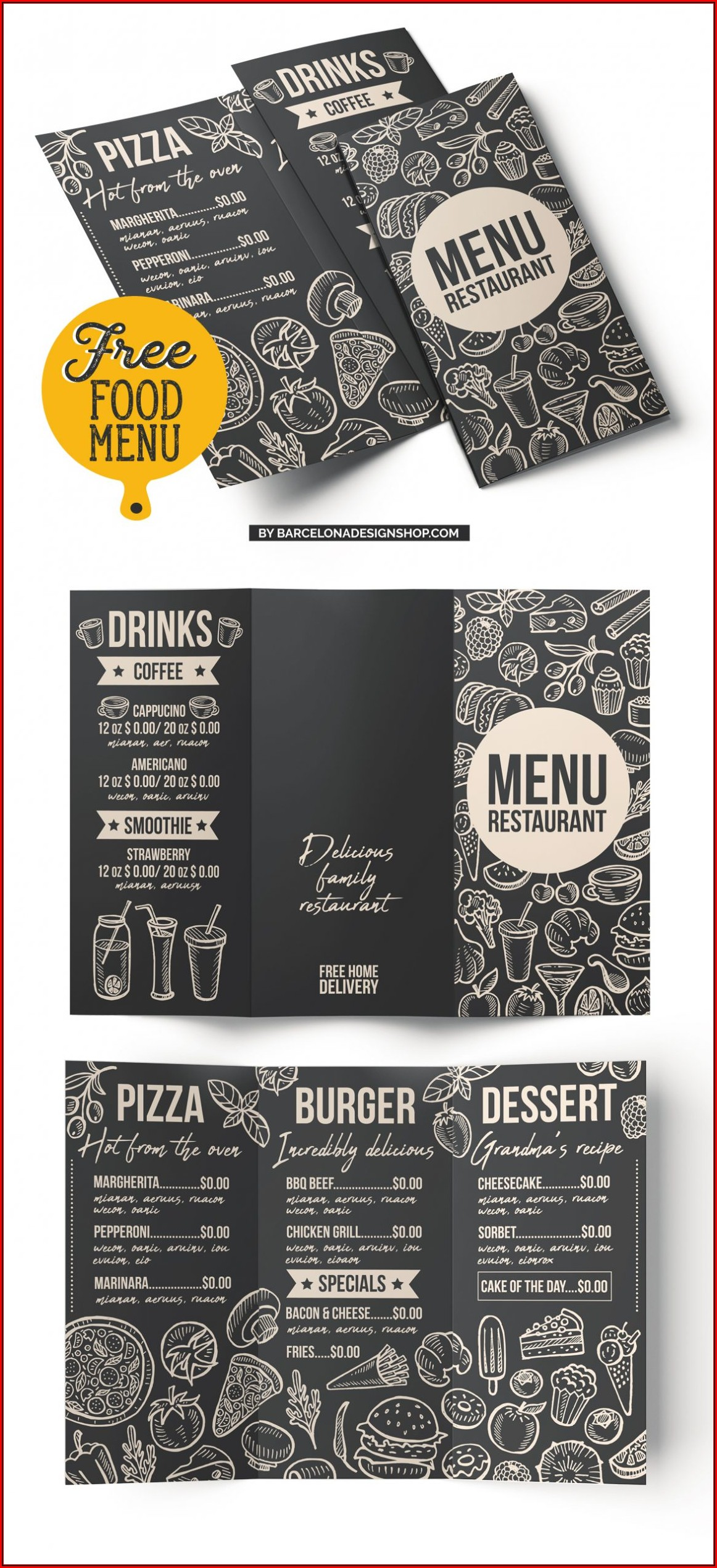 Blank Restaurant Menu Template Free Download