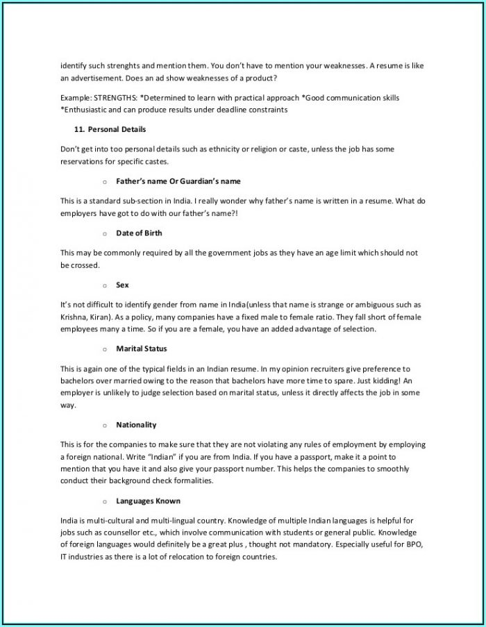 Blank Resume Format For Freshers