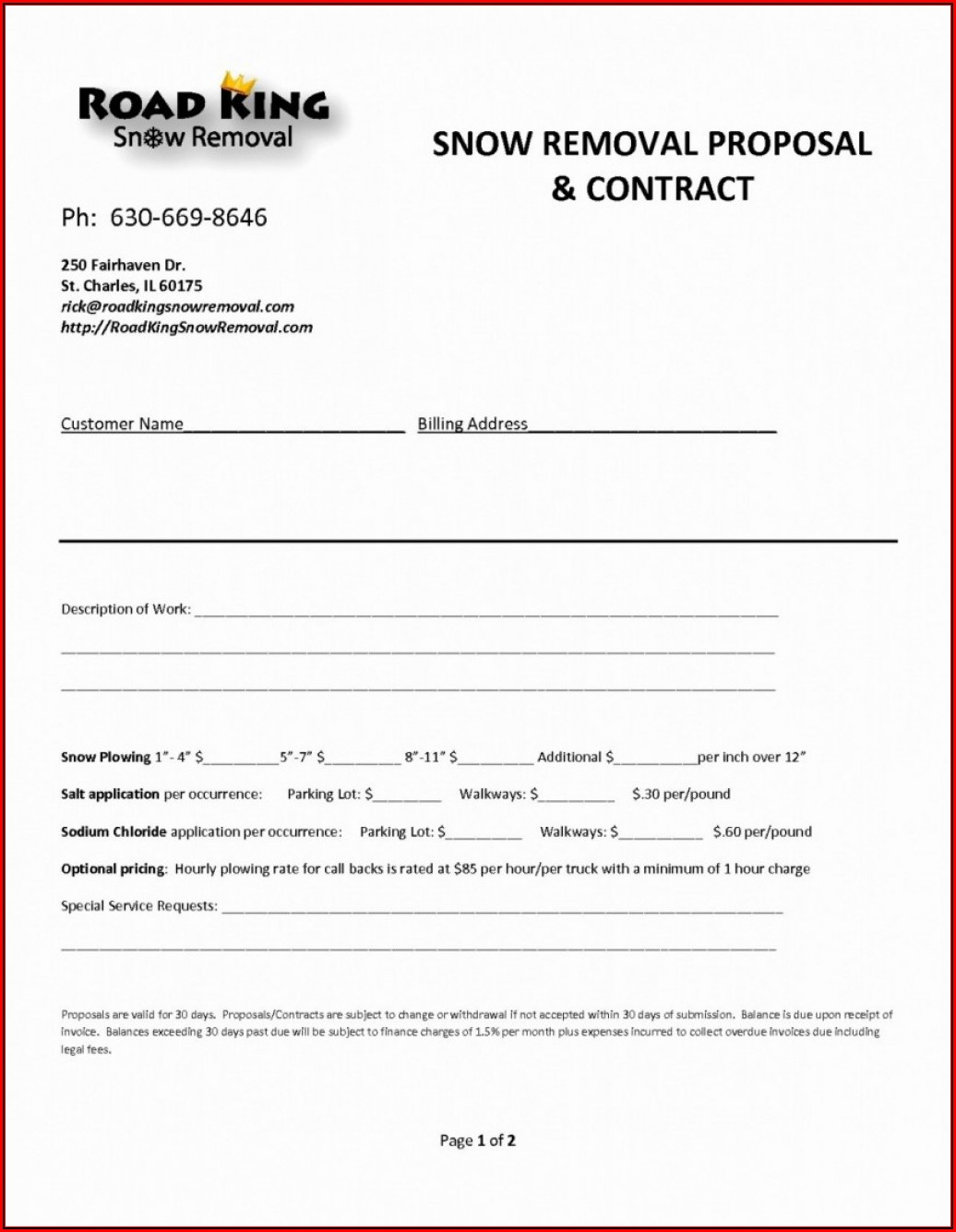 Blank Snow Removal Contract Template
