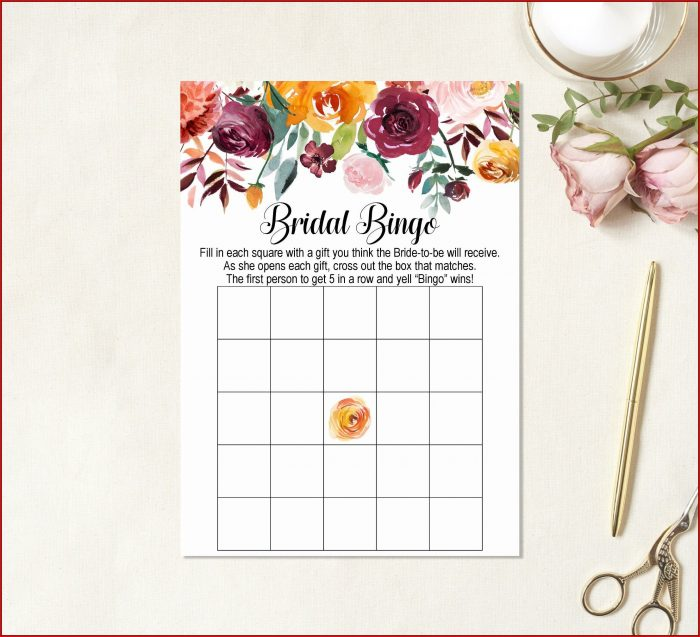 Bridal Shower Bingo Template Blank