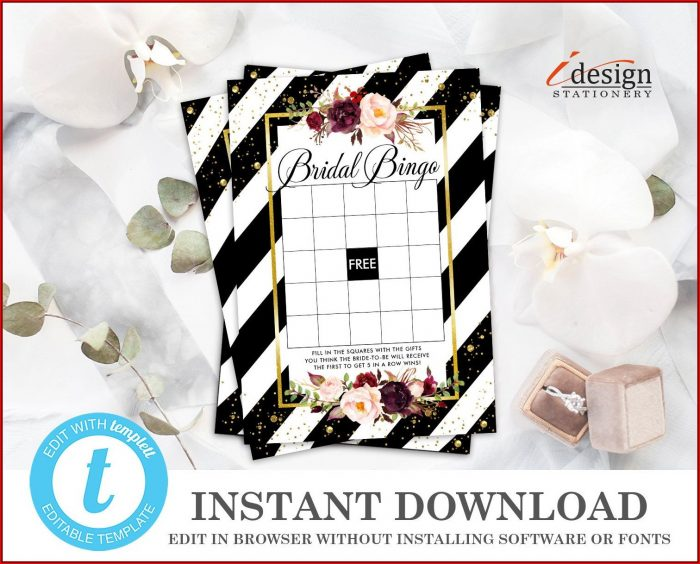 Bridal Shower Bingo Template Download