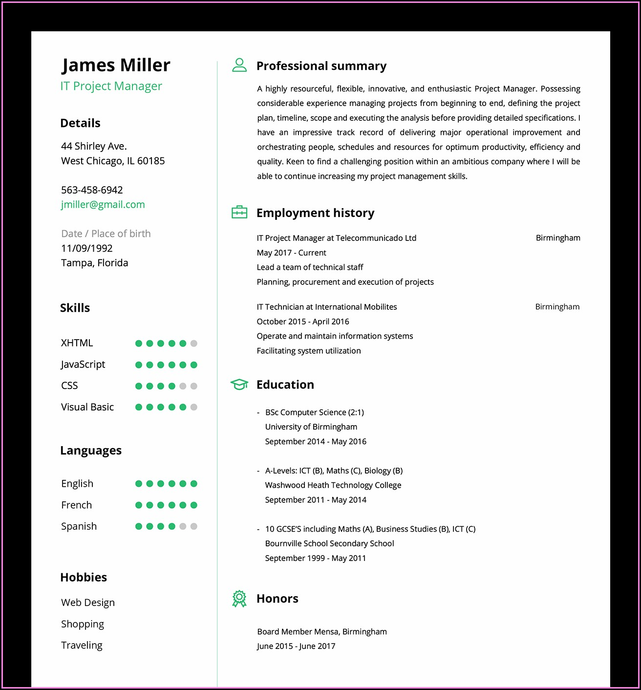 Build Your Own Resume Online For Free