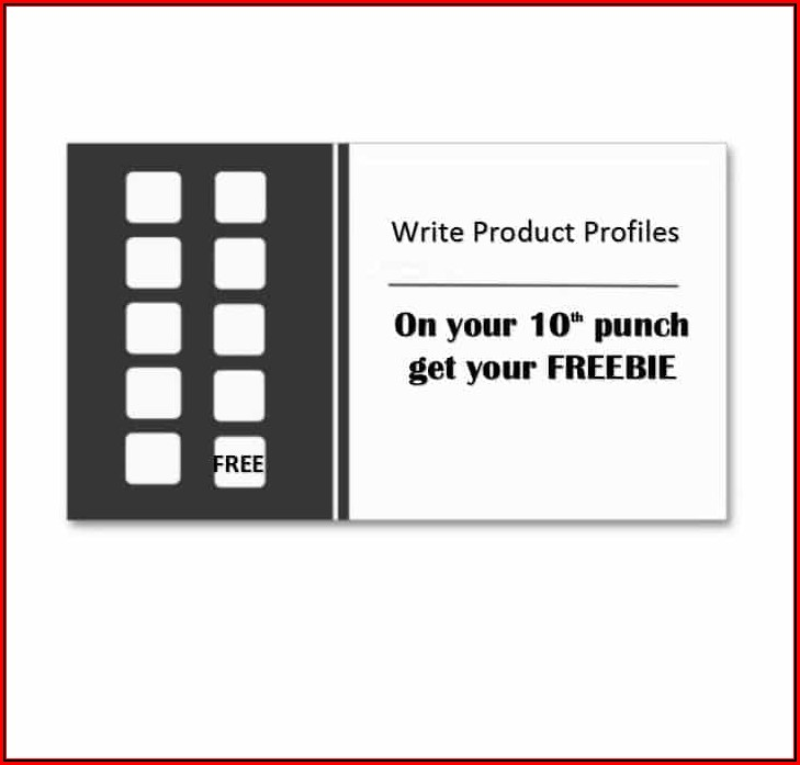 Buy 10 Get One Free Punch Card Template