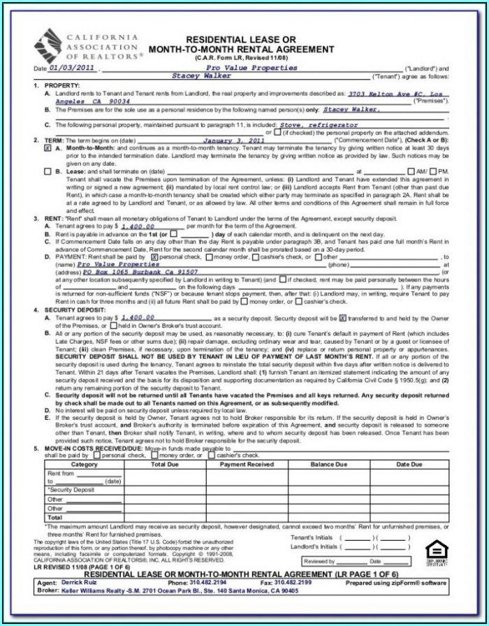 California Association Of Realtors Application To Rent Fillable Form