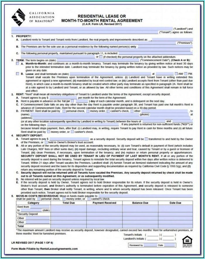 California Association Of Realtors Application To Rent Form