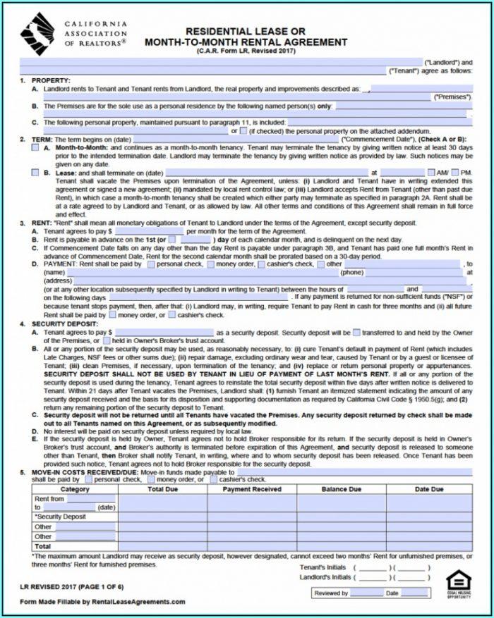 California Association Of Realtors Rental Lease Form