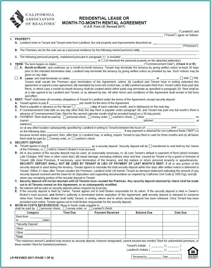 California Association Of Realtors Vacation Rental Agreement Form