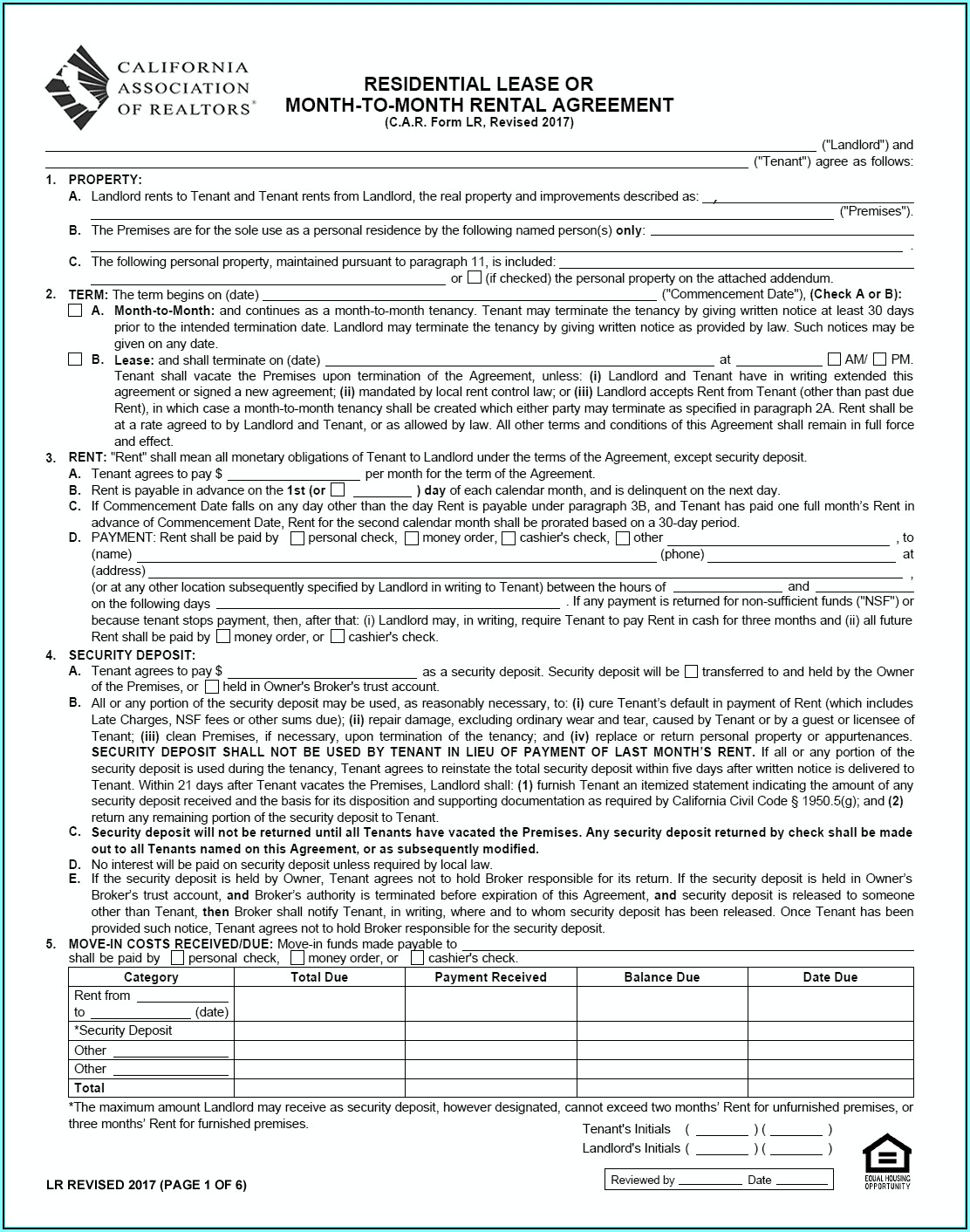 California Association Of Realtors Vacation Rental Agreement Form