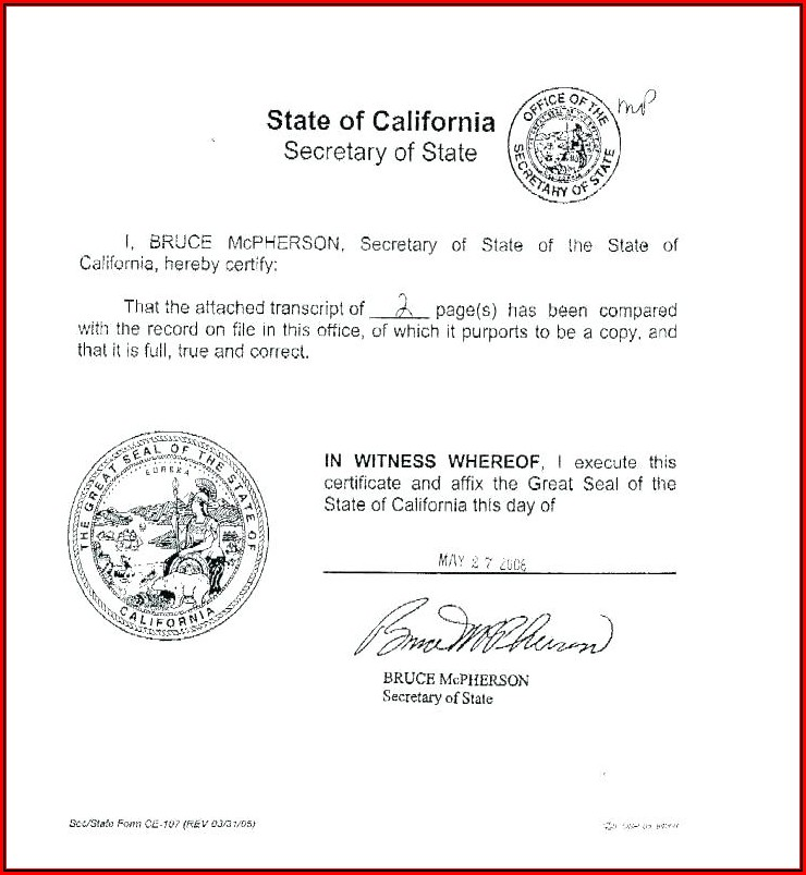 California Nonprofit Articles Of Incorporation Template