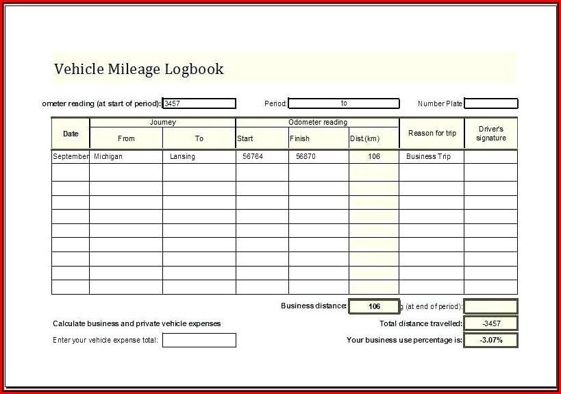 Car Mileage Log Book Template