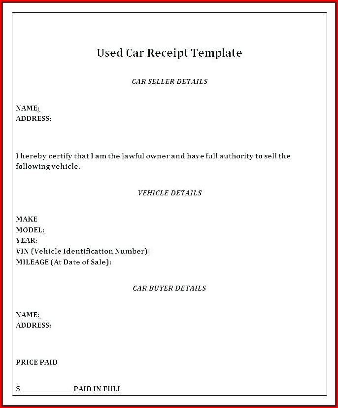 Car Sale Receipt Template Doc