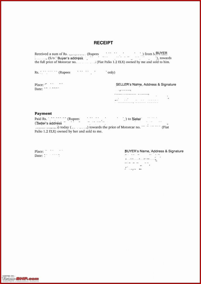 Car Sale Receipt Template Pdf
