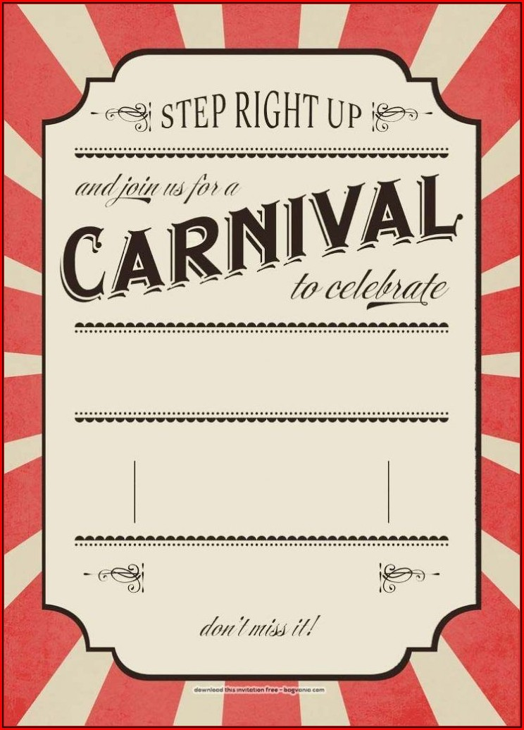 Carnival Birthday Invitation Template Free