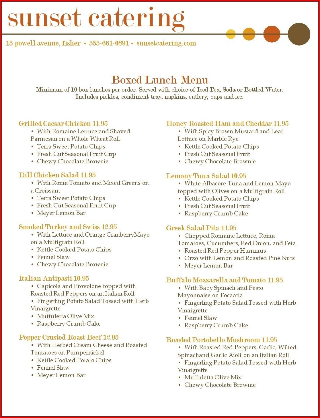 Catering Menu Templates Free