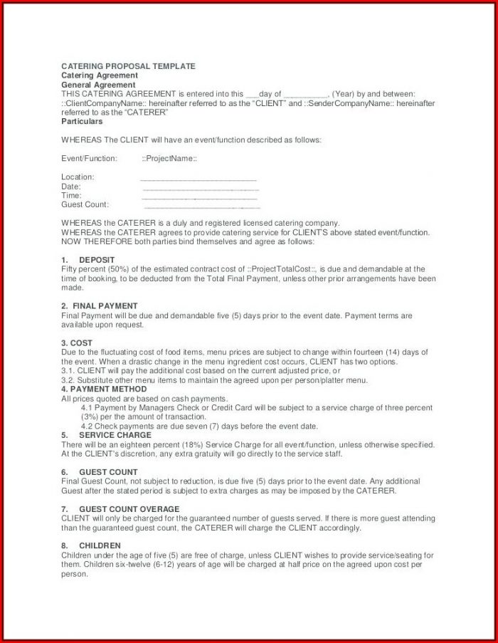 Catering Proposal Template Doc