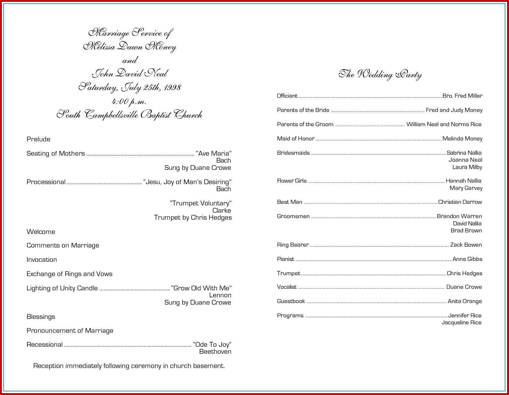 Catholic Wedding Program Template Without Mass Uk