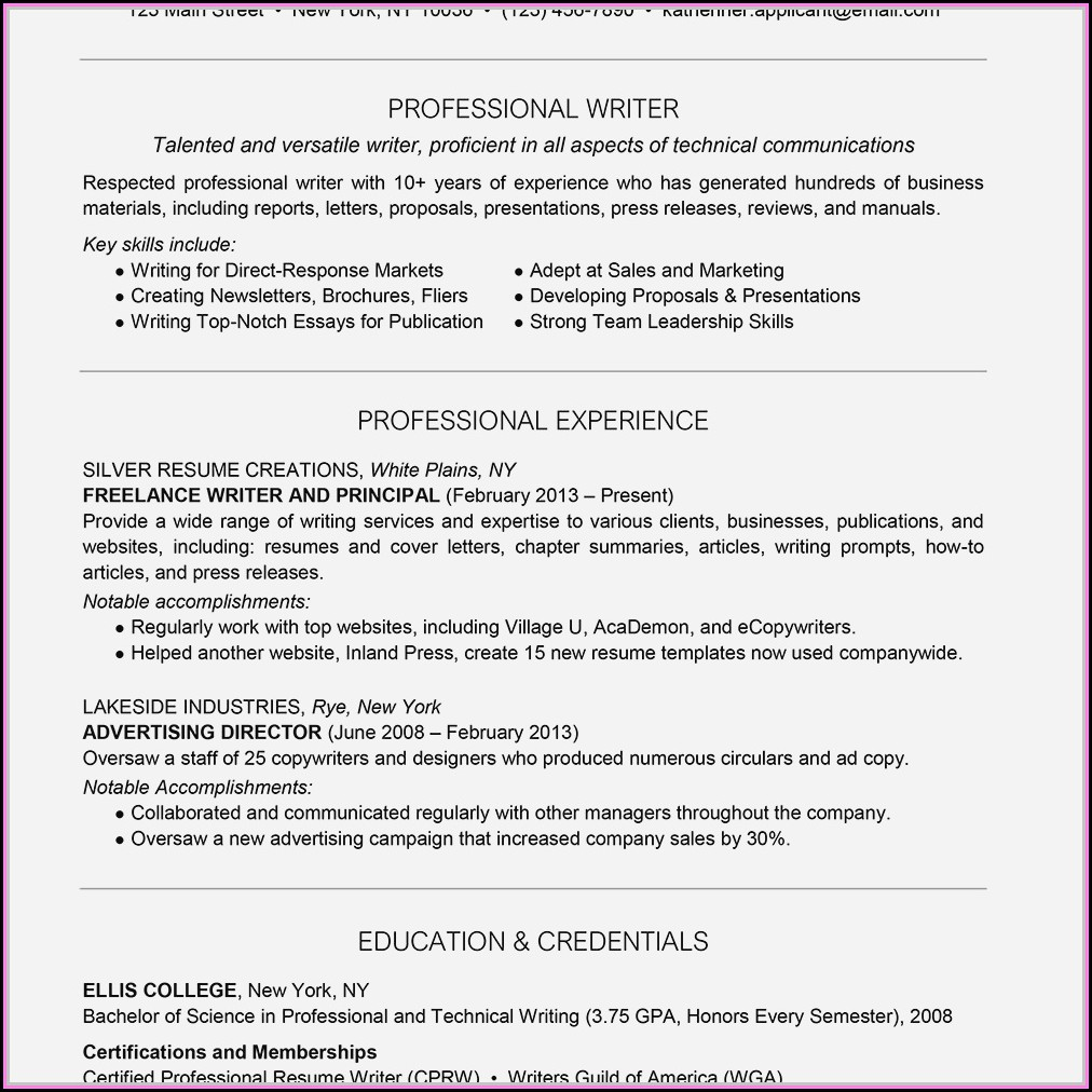 Certified Professional Resume Writer (cprw) Designation