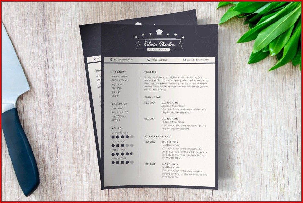 Chef Cv Template Download