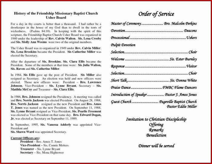Church Anniversary Program Templates Free