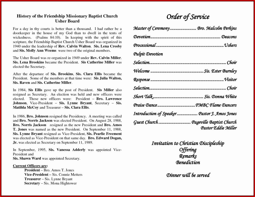 Church Anniversary Program Templates Free