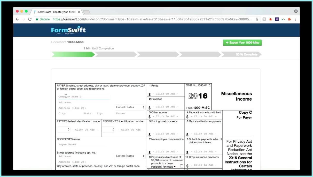 Complete 1099 Misc Form Online