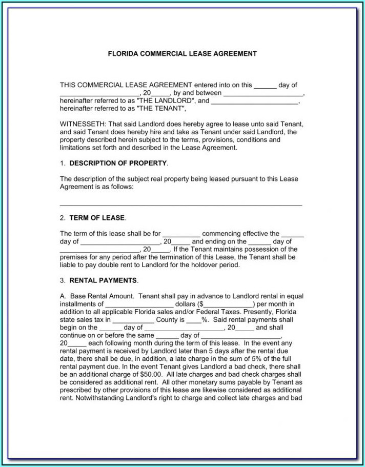 Condo Lease Form Florida