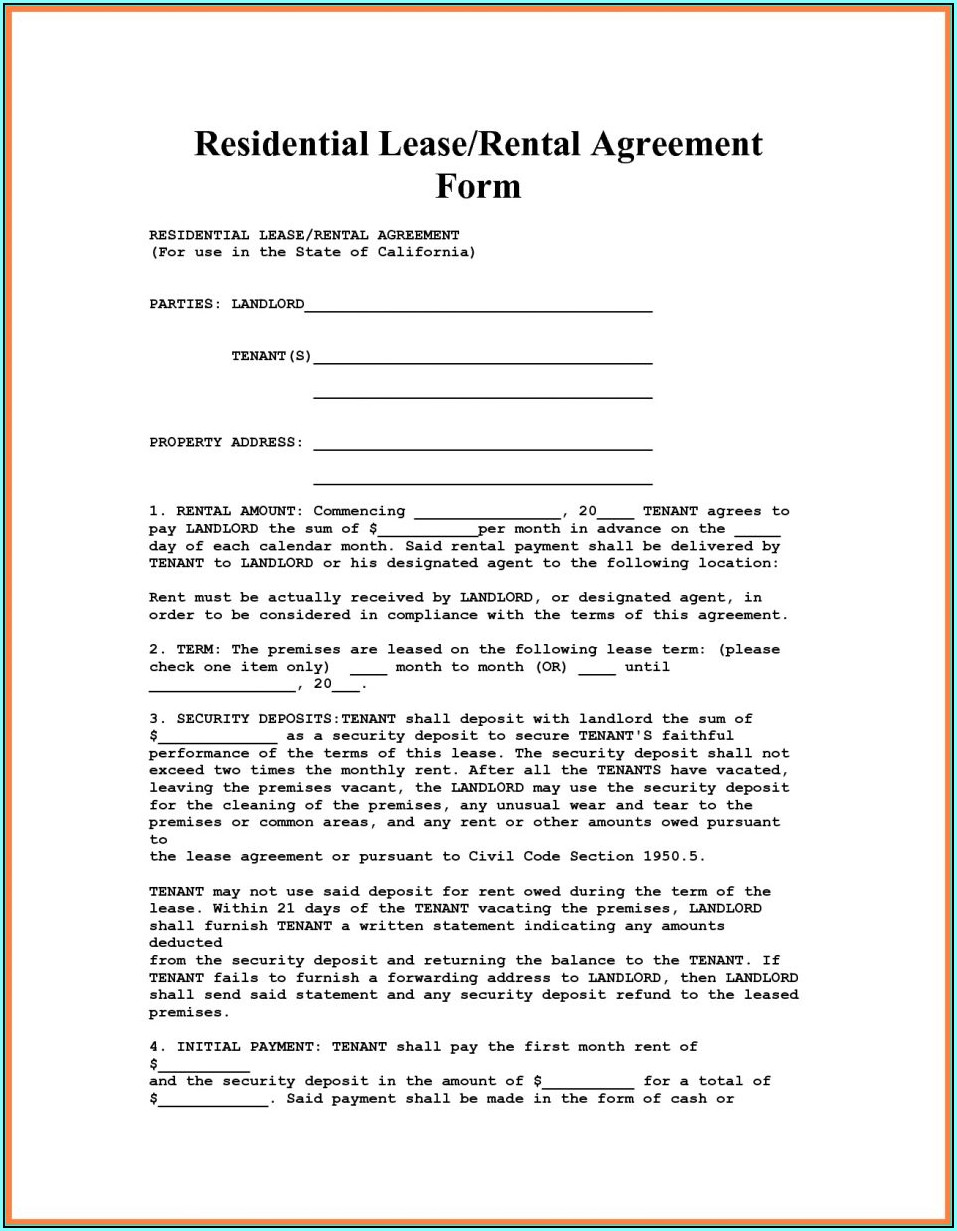 Condo Rental Lease Form