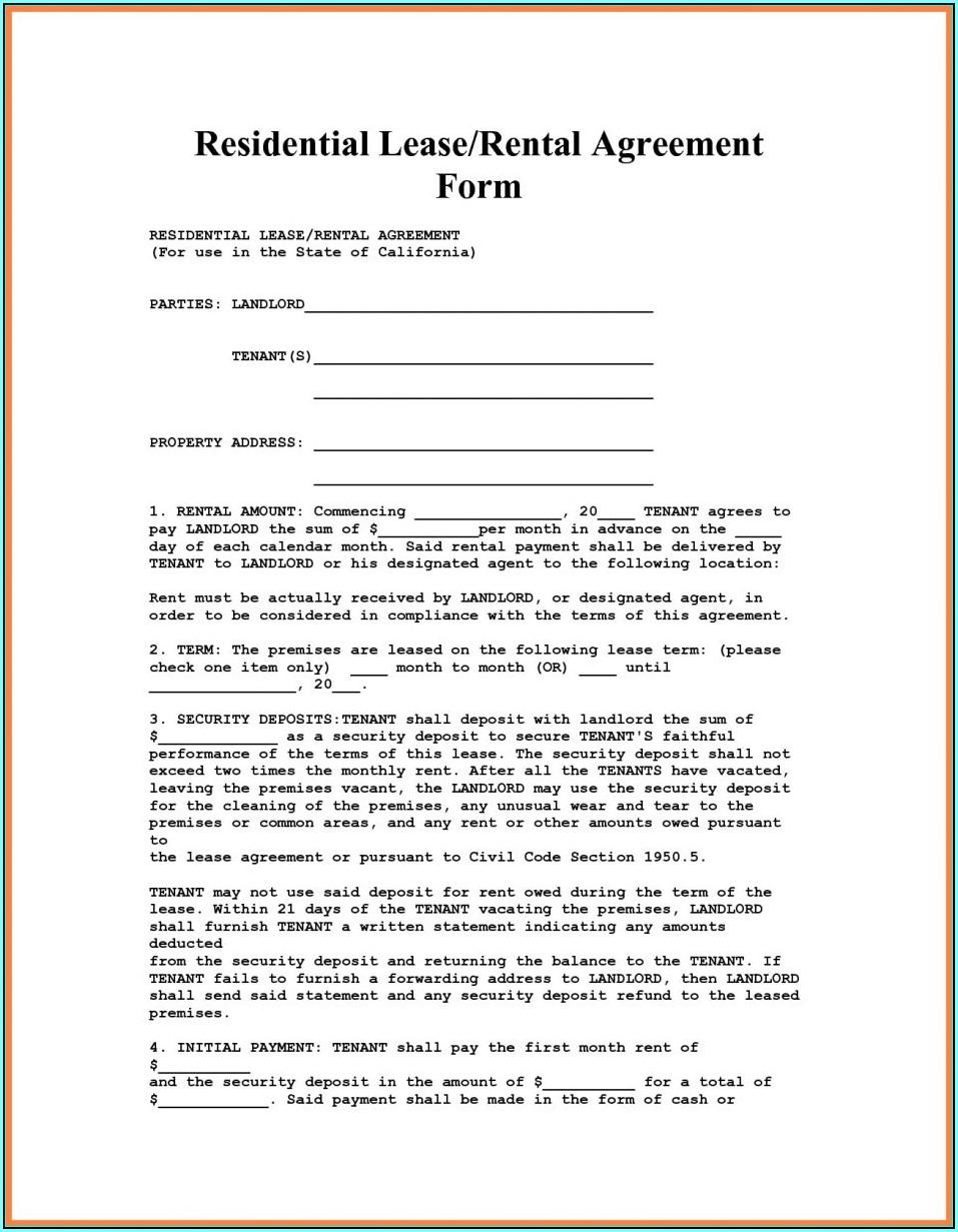 Condo Rental Lease Form