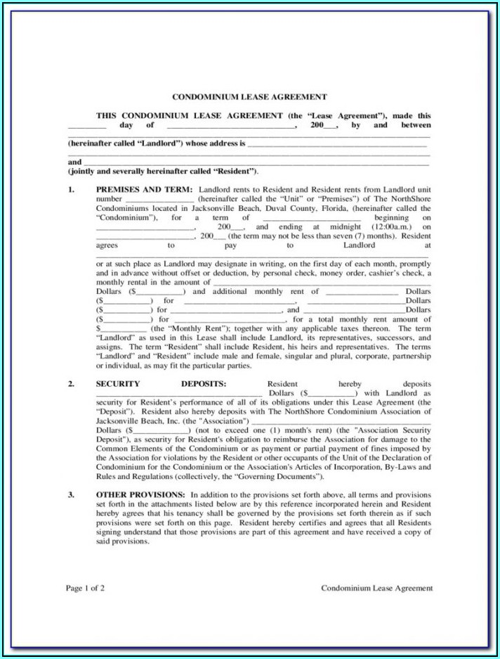 condominium lease form
