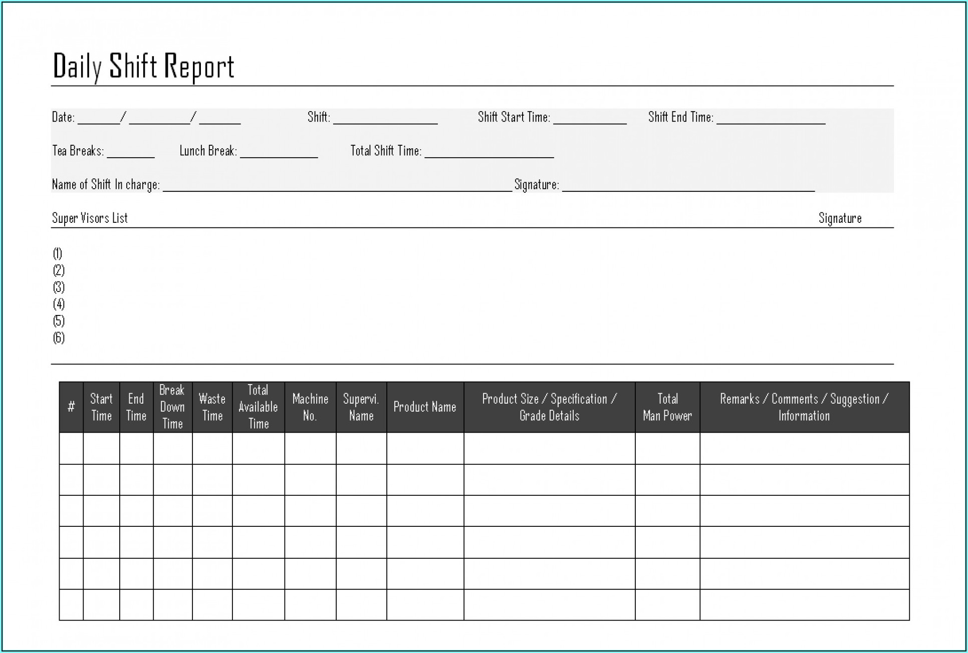 Construction Daily Report Forms Free Downloads