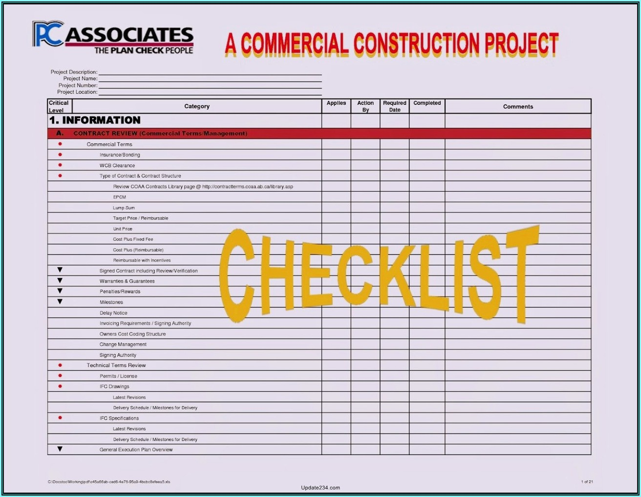 Construction Project Management Forms
