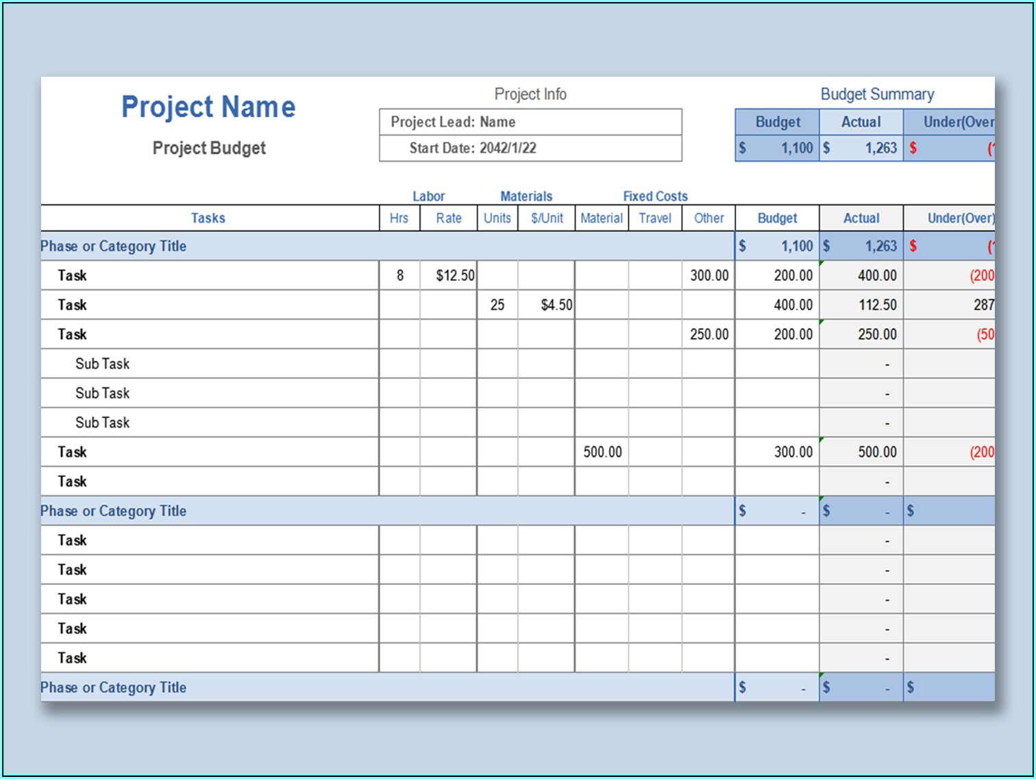 Construction Project Management Sheets