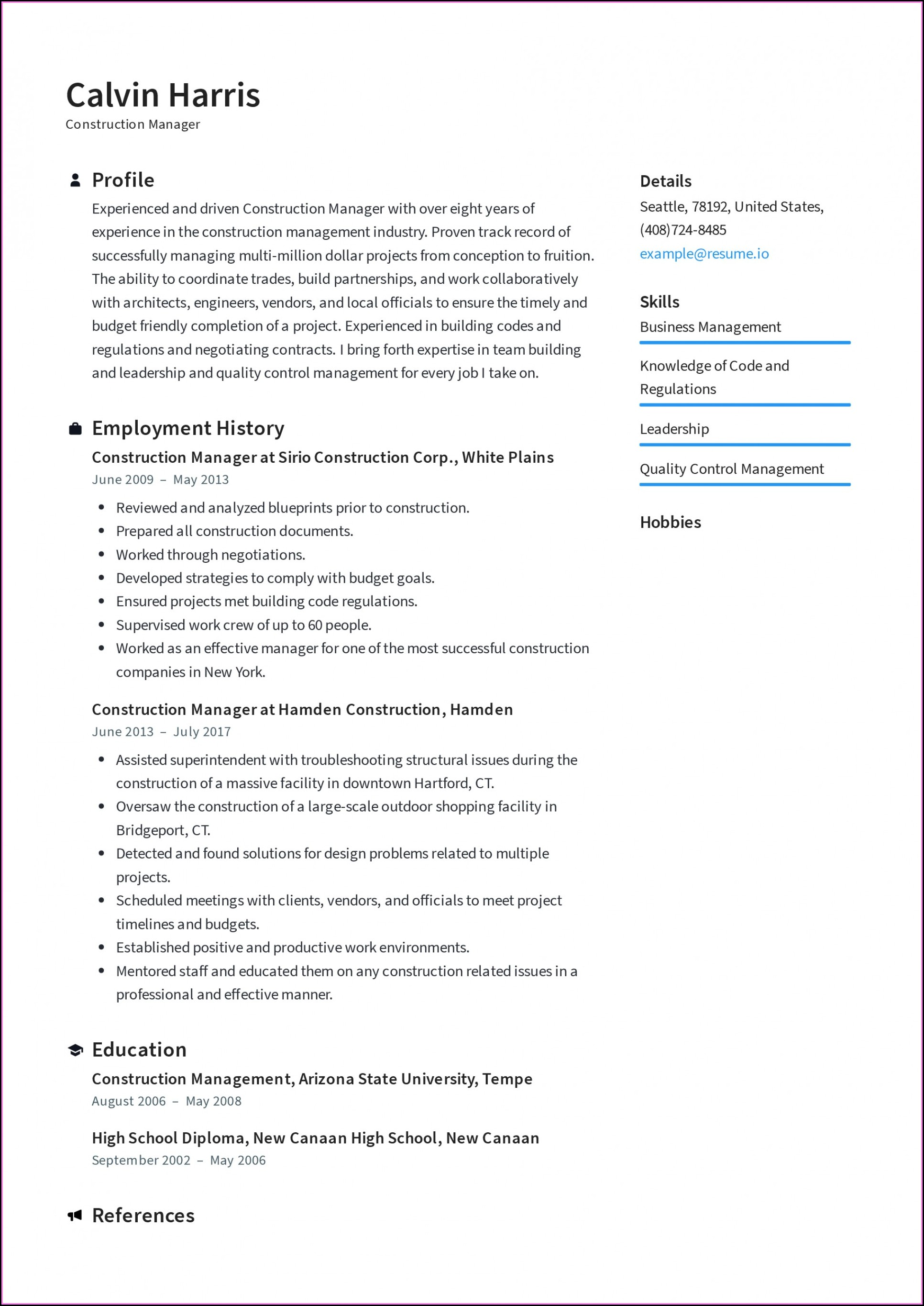 Construction Project Manager Resume Template Microsoft Word
