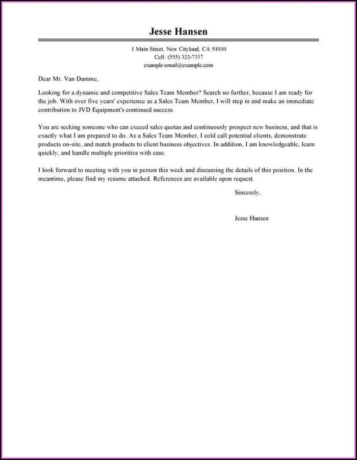 Cover Letter Sample For Sending Resume