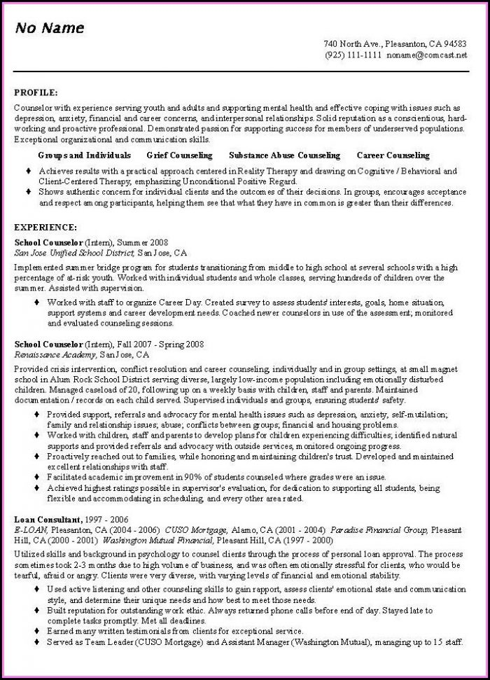 Curriculum Vitae Counselor Template