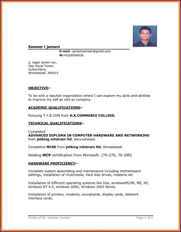 Curriculum Vitae Free Download Word Format