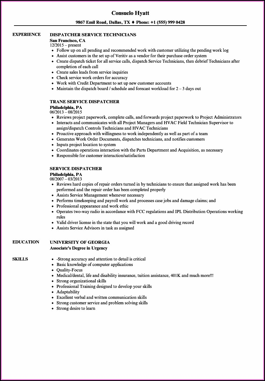 Customer Service Dispatcher Resume