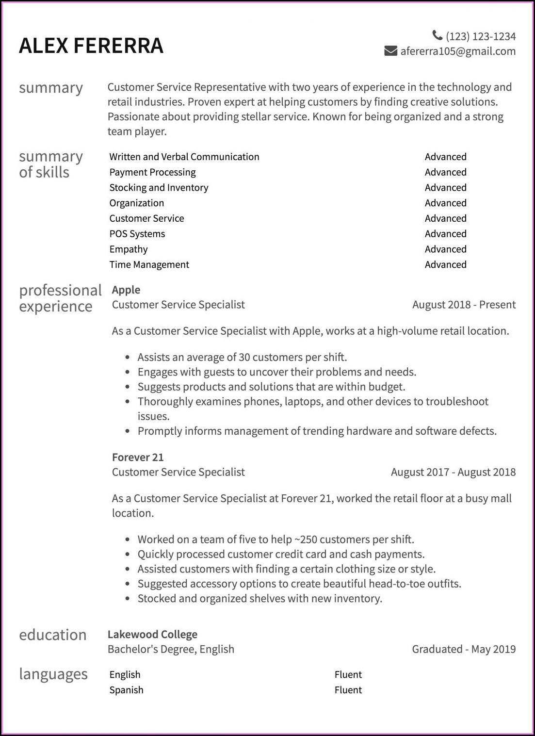 Customer Service Resume Samples Free Doc