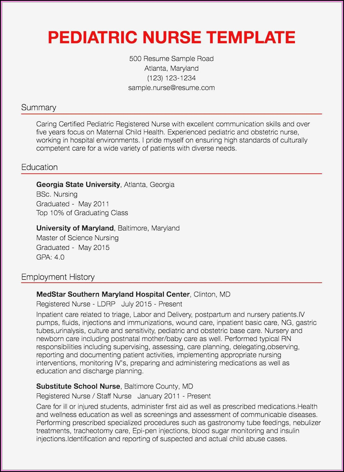 Cv For Nurses Template