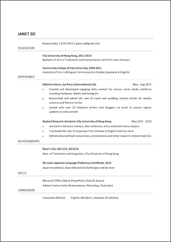 Different Resume Styles Examples