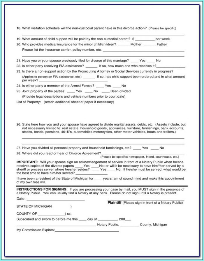 Divorce Forms Michigan