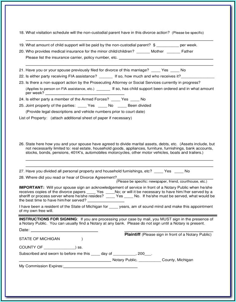 Divorce Forms Michigan