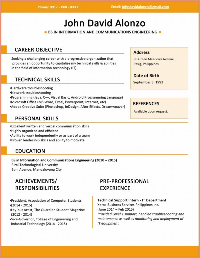 Download Resume Format Sample